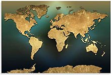 ASDFX Carte du monde dorée et verte Poster