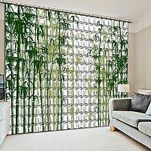 ASNIVI Rideau À Oeillets Arbres Bambou Vert Blanc