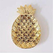 Assiette de diner Gold blanc ananas feuille en
