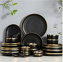 Assiette de diner RIM Doré Porcelaine Noire
