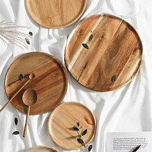 Assiette ronde en bois, couverts à fruits,