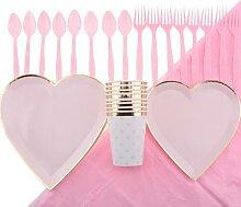 Assiettes en papier en forme de cœur,