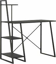 Asupermall - Bureau avec etagere Noir 102x50x117 cm