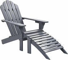 Asupermall - Chaise de jardin avec pouf Bois Gris