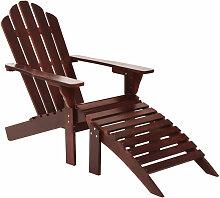 Asupermall - Chaise de jardin avec pouf Bois Marron