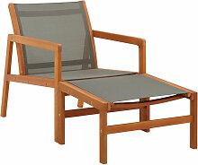 Asupermall - Chaise de jardin et repose-pied Gris