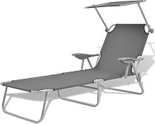 Asupermall - Chaise longue avec auvent Acier Gris