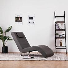 Asupermall - Chaise longue avec oreiller Gris