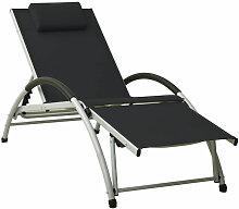 Asupermall - Chaise longue avec oreiller Textilene