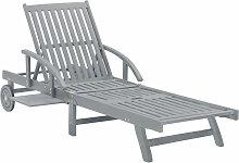 Asupermall - Chaise longue de jardin Gris Bois