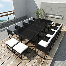 Asupermall - Jeu de mobilier de jardin 33 pcs Noir