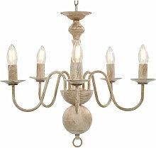 Asupermall - Lustre Blanc antique 5 ampoules E14