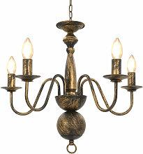Asupermall - Lustre Noir antique 5 ampoules E14