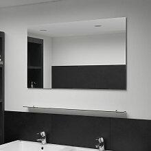 Asupermall - Miroir mural avec etagere 100x60 cm