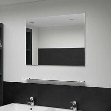 Asupermall - Miroir mural avec etagere 80x60 cm