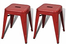 Asupermall - Tabouret 2 pcs Empilable Metal Rouge