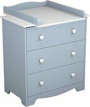 At4 - commode à langer 3 tiroirs - bleu - blanc /