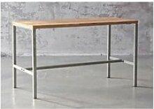 Atelier - table haute 160 cm acier et teck recyclé