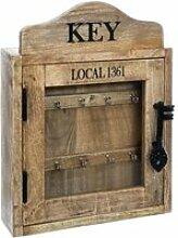 Atmosphera - boite à clés rétro en bois h 40 cm