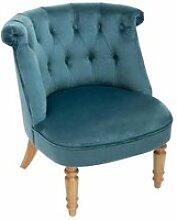 Atmosphera - fauteuil crapaud en velours bleu et
