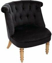 Atmosphera - fauteuil crapaud en velours noir et