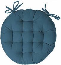 Atmosphera - Galette de chaise ronde bleu canard D