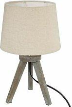Atmosphera Lampe mini trépied, bois et ivoire H31