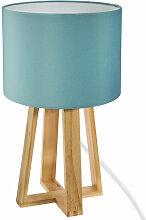Atmosphera - Lampe pied bois et abat-jour bleu