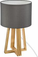Atmosphera - Lampe pied bois et abat-jour gris