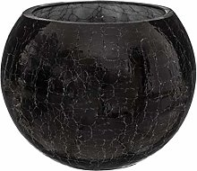 Atmosphera - Vase Boule en Verre craquelé Noir H