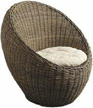 Aubry gaspard - fauteuil boule en poelet gris