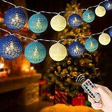 Augone Guirlande Lumineuse Boule Coton LED USB,