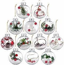 Auihiay Lot de 12 boules de Noël en plastique