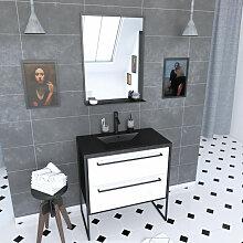 Vasque A Poser ET Miroir LED NORDIK SKUFF LED 60 Aurlane Meuble Salle DE Bain SCANDINAVE Blanc ET Bois Naturel 60 CM sur Pieds avec TIROIRS