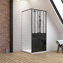 Aurlane - Pack Paroi de douche 90x200 cm noir mat