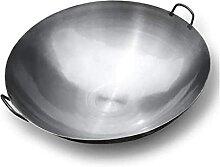Authentique wok martelé à la main. Wok plat de