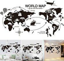 Autocollant carte du monde noire, décoration