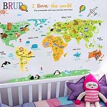 Autocollant de grande carte du monde large en