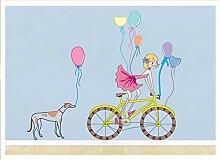 Autocollant mural auto-adhésif vélo fille ballon