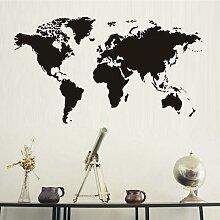 Autocollant mural carte du monde Art Vintage,