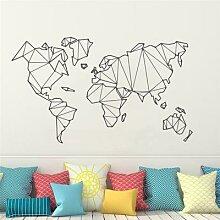Autocollant mural carte du monde géométrique,