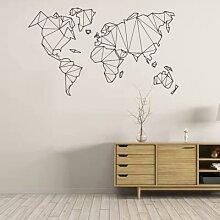 Autocollant Mural carte du monde géométrique