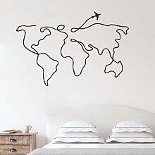Autocollant mural carte du monde voyage en ligne