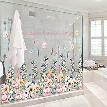 Autocollant mural de fleurs romantiques, 92*53cm,