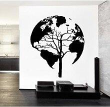 Autocollant mural en vinyle carte du monde arbre