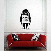 Autocollant mural en vinyle style chimpanzé Laugh