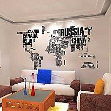 Autocollant Mural Pays/Région Nom Carte Du Monde