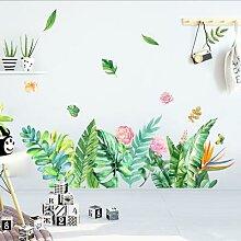 Autocollant mural plante aquarelle papillon