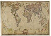 Autocollant mural Vintage carte du monde, papier
