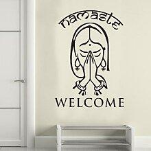 Autocollants de porte motif Yoga indien, sticker